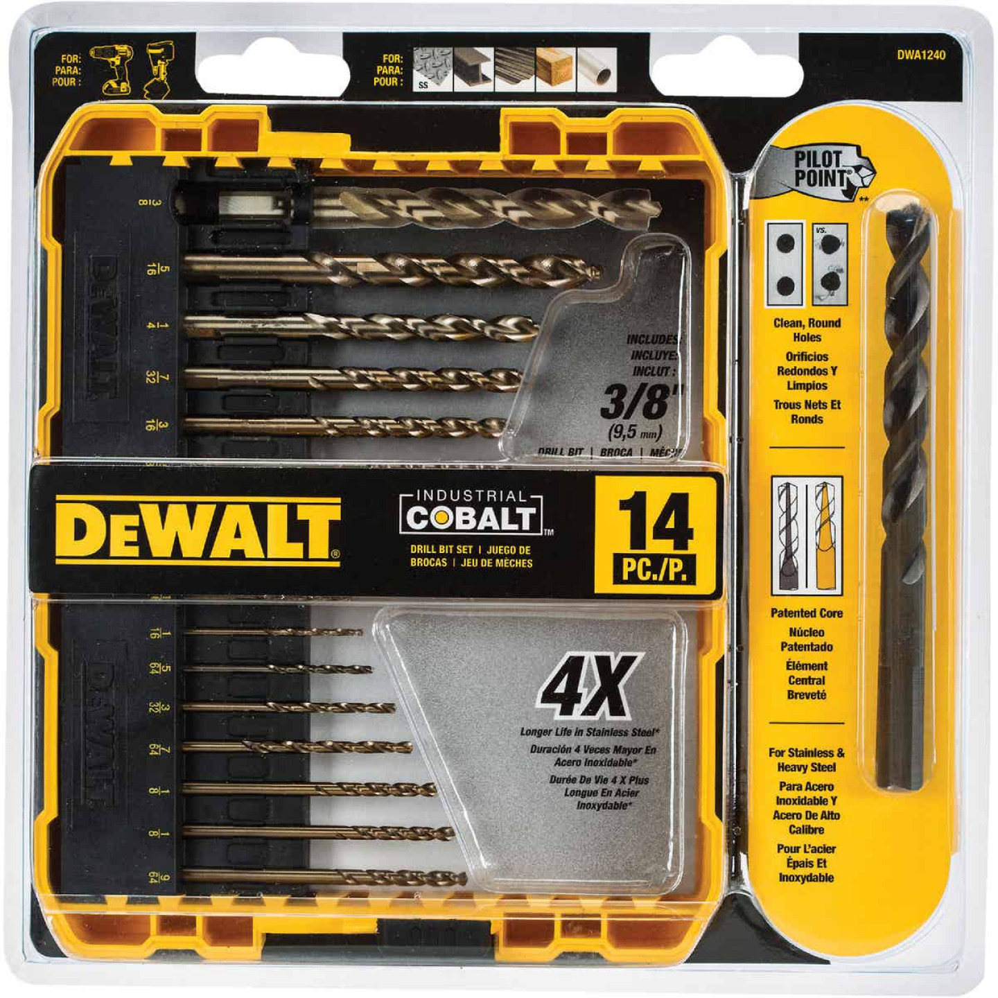 DeWalt 14-Piece Cobalt Drill Bit Set, 1/16 In. thru 3/8 In. Image 1