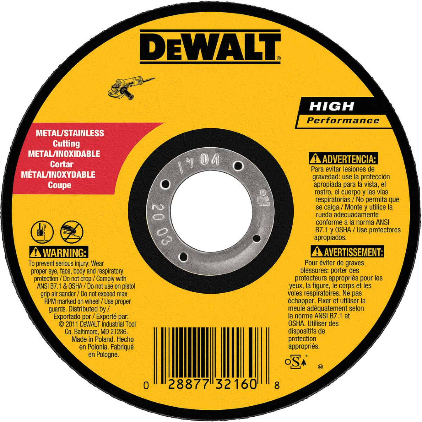 DeWalt HP Type 1 5 In. x 0.045 In. x 7/8 In. Metal/Stainless Cut-Off Wheel Image 1
