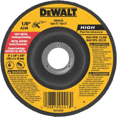 DeWalt HP Type 27 4 In. x 1/8 In. x 5/8 In. Metal Grinding Cut-Off Wheel