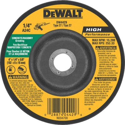 DeWalt HP Type 27 4 In. x 1/4 In. x 5/8 In. Masonry Grinding Cut-Off Wheel