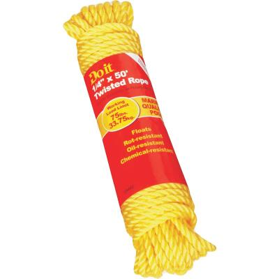 Do it 1/4 In. x 50 Ft. Yellow Twisted Polypropylene Packaged Rope
