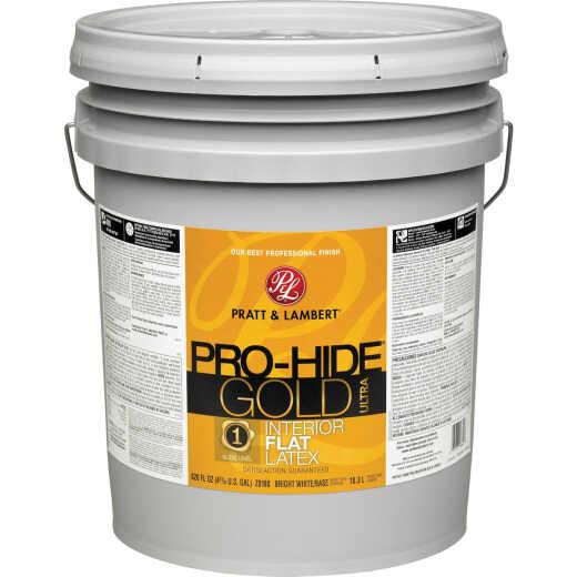 Pratt & Lambert Pro-Hide Gold Ultra Latex Flat Interior Wall Paint, Bright White Base, 5 Gal.