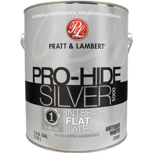Pratt & Lambert Pro-Hide Silver 5000 Latex Flat Interior Wall Paint, Antique White, 1 Gal.
