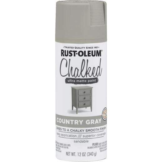 Rust-Oleum Chalked 12 Oz. Ultra Matte Spray Paint, Country Gray