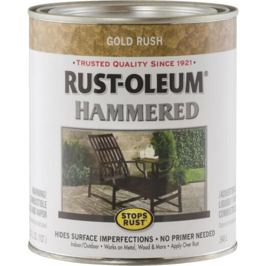 Rust-Oleum Stops Rust Hammered Paint, Gold Rush, 1 Qt.