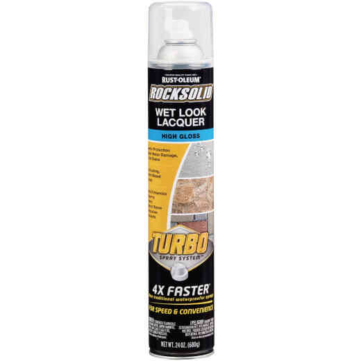 Rust-Oleum RockSolid 24 Oz. Turbo Spray System High Gloss Wet Look Lacquer Spray Sealer