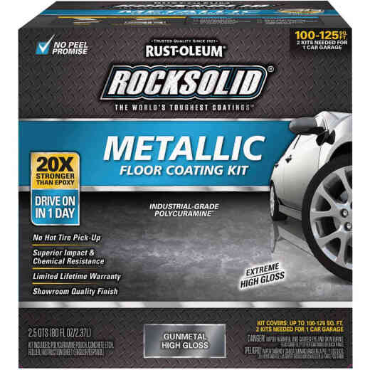 Rust-Oleum RockSolid Garage Floor Paint and Coating Kit, 80 Oz., Gunmetal Metallic