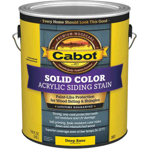 Cabot Solid Color Acrylic Siding Exterior Stain, Deep Base, 1 Gal.